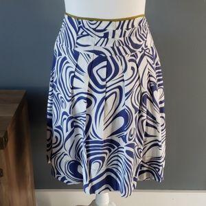 Cabi Blue White Swirl Lombari Skirt size 10